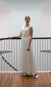 lace insert v neck sleeveless silk wedding dress
