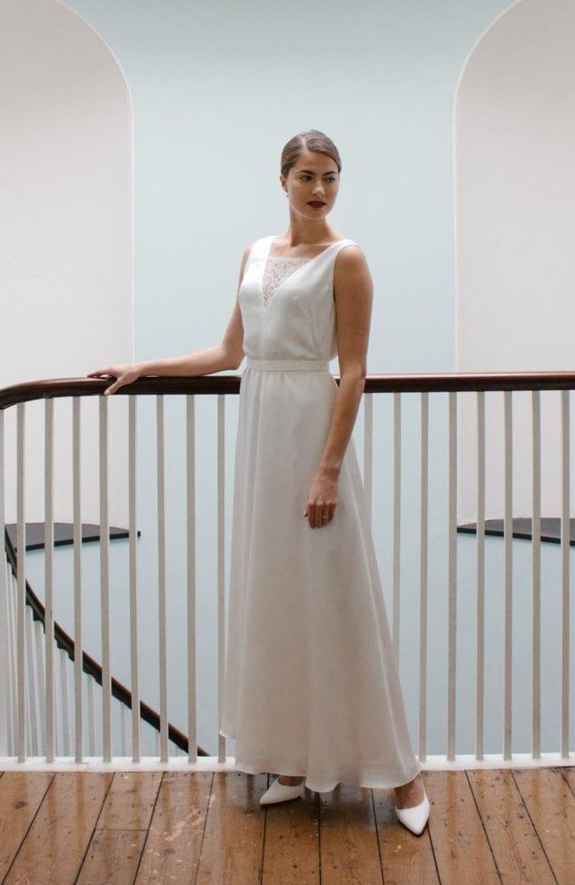 lace insert v neck sleeveless silk wedding dress
