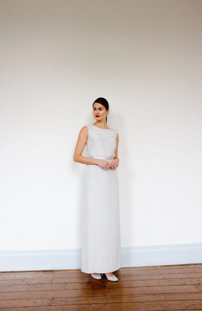 white simple silk high neck sleeveless wedding dress