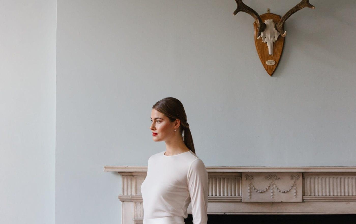 high neck long sleeve simple silk wedding dress