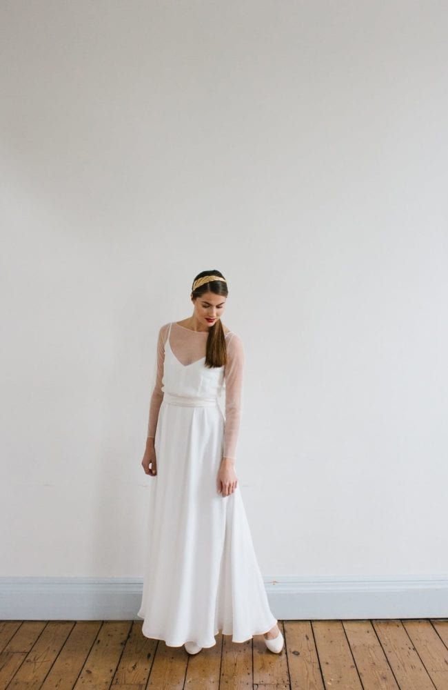 simple silk v neck thin strp wedding dress with sheer bridal top