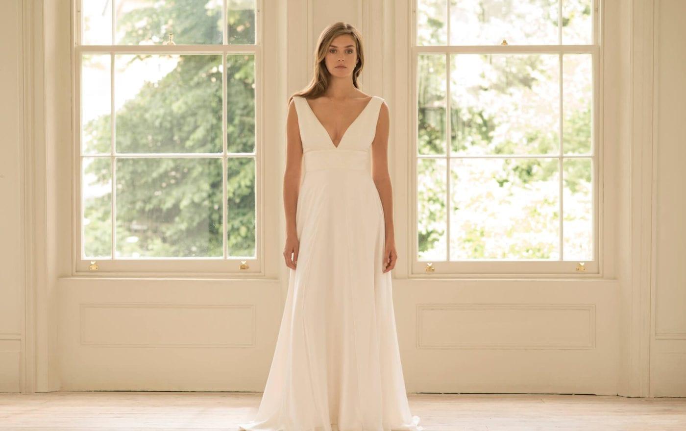 empire line v neck wedding dress