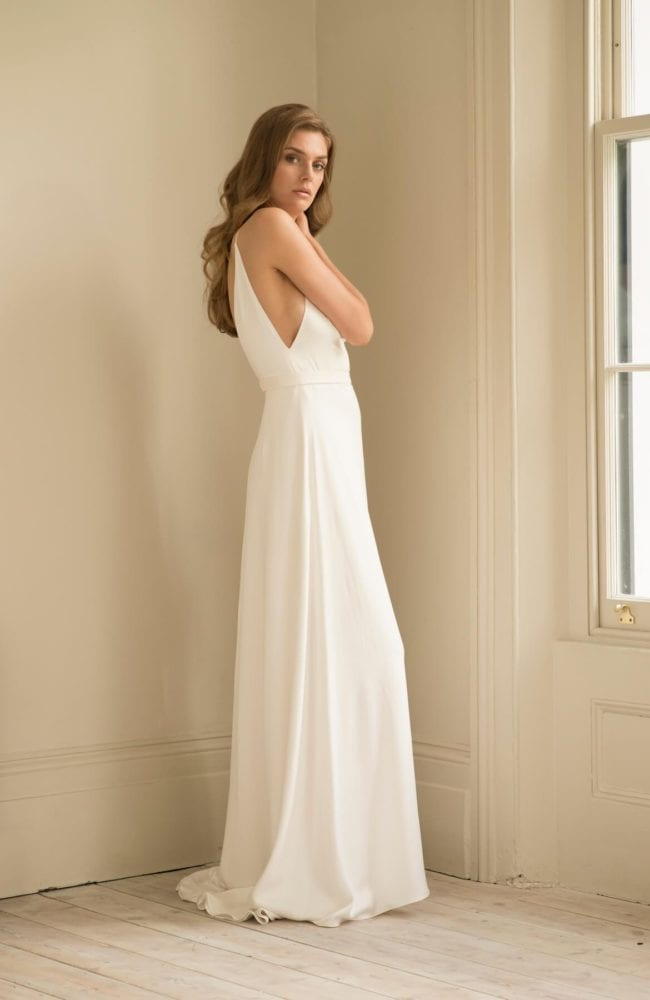 plain backless v neck wedding dress