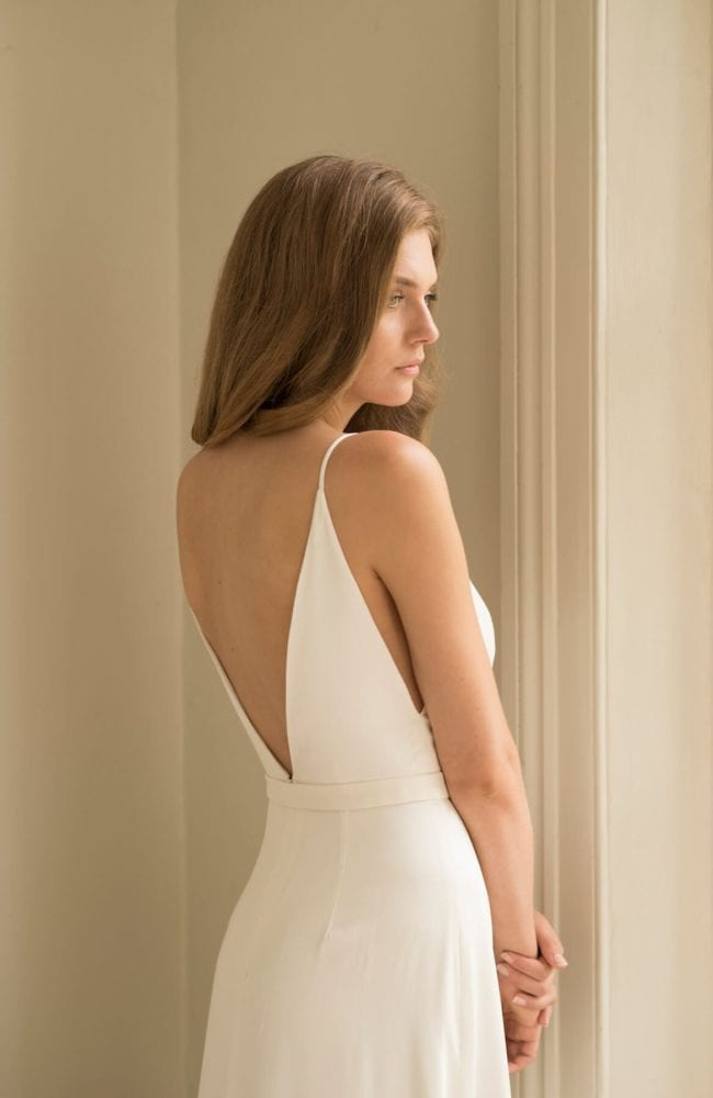 backless silk wedding dress