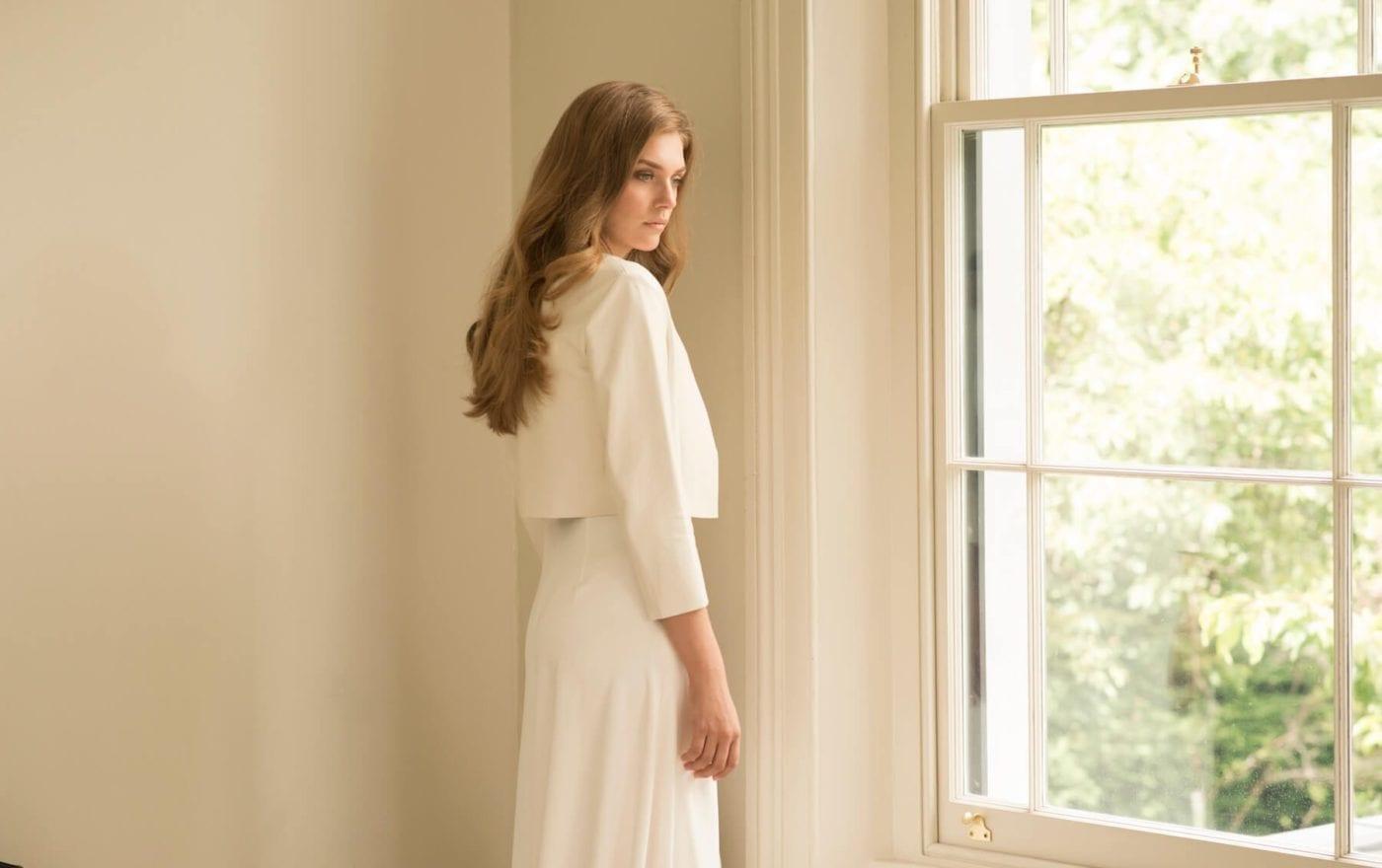 simple silk wedding dress with wedding jacket