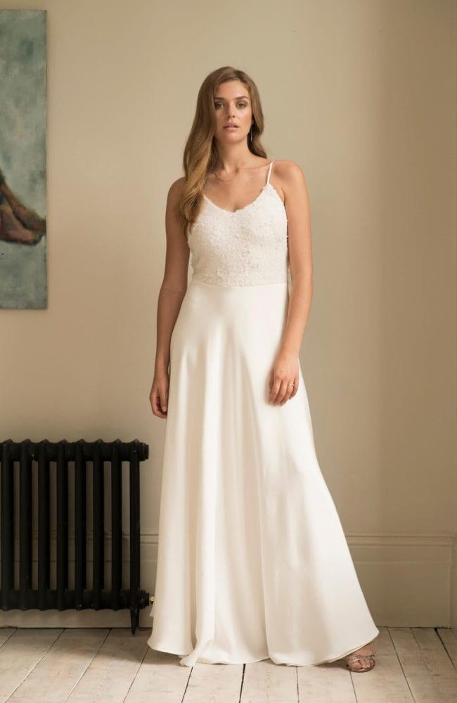 sequin top wedding dress