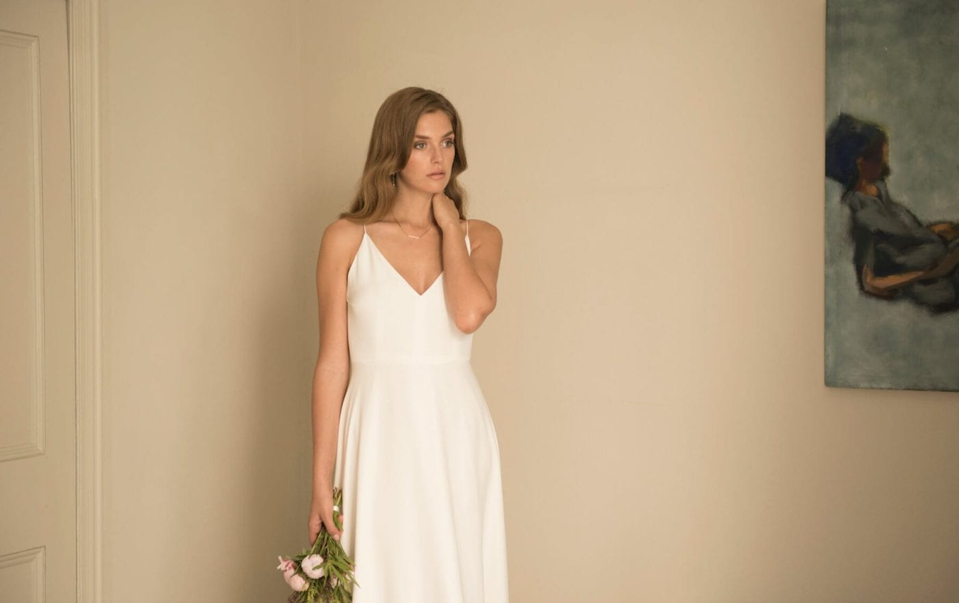 spaghetti strap v neck wedding dress