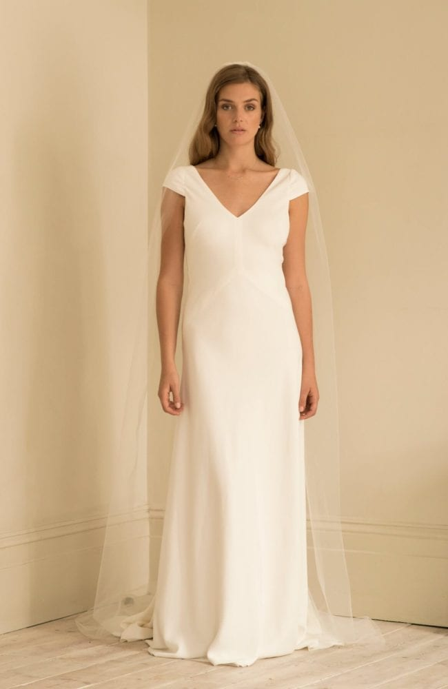 cap sleeve v neck wedding dress