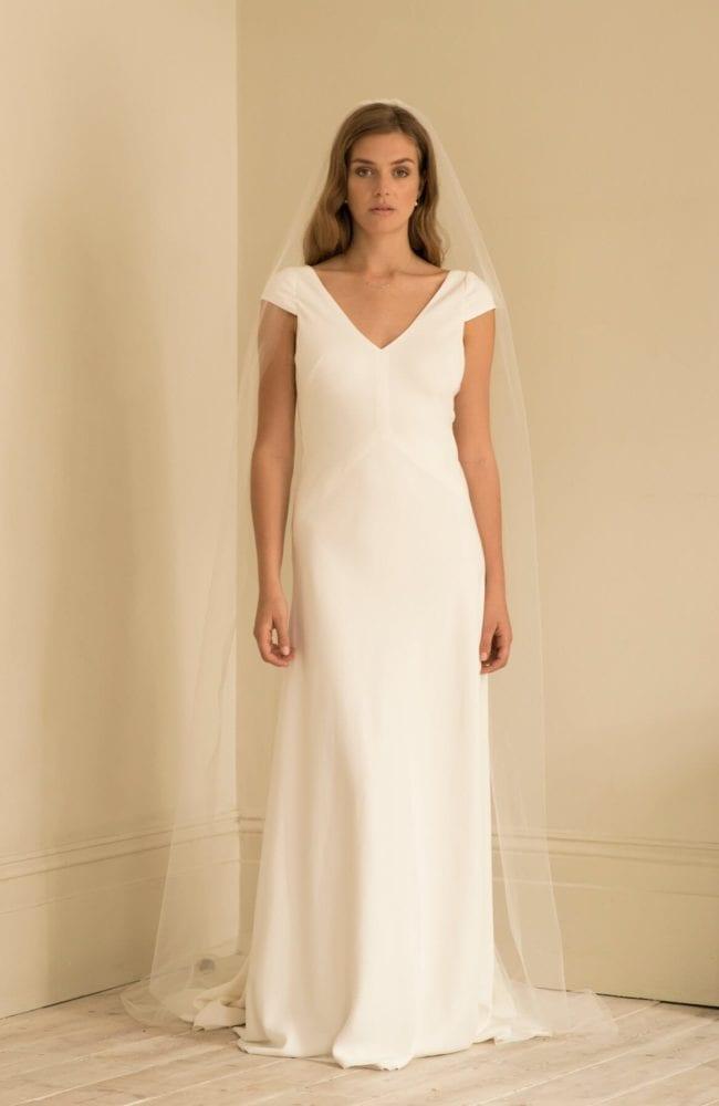 cap sleeve v neck wedding dress