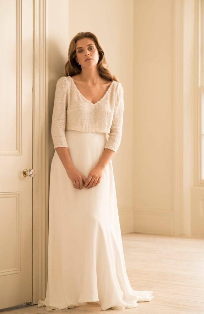 long sleeve sequin top wedding dress
