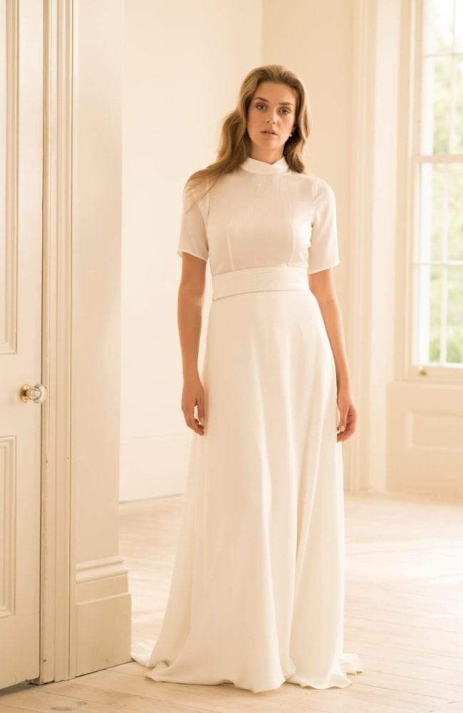 short sleeve bridal top empire line wedding skirt