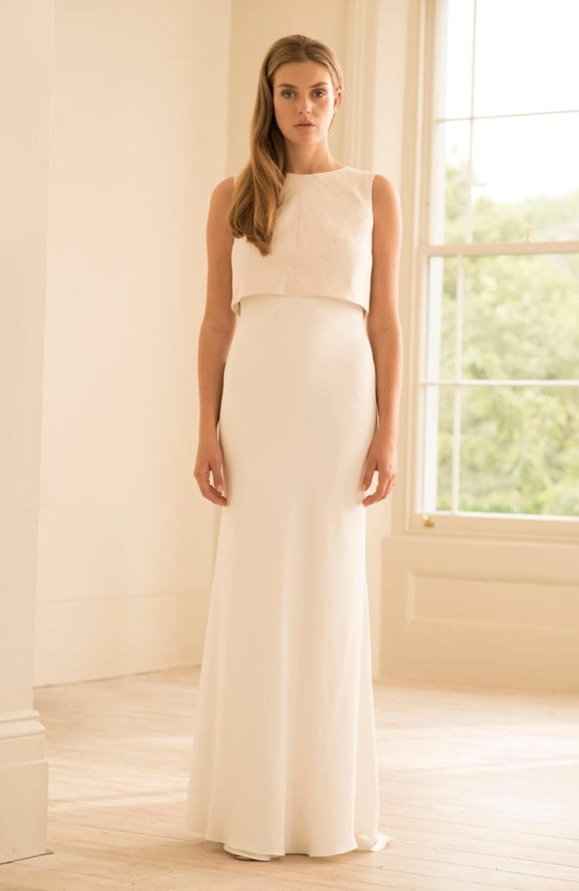 silk wedding dress with sequin bridal top