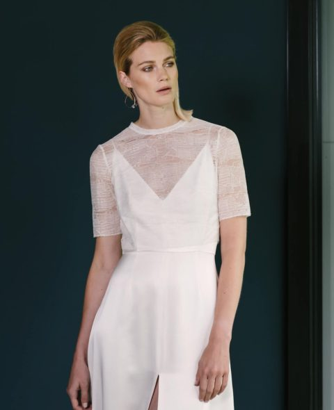 silk wedding dress with lace top