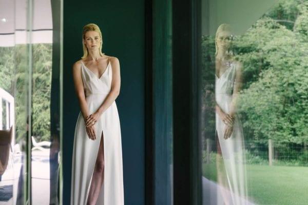 simple silk wedding dress spaghetti straps