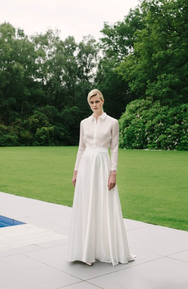 plain wedding skirt with simple bridal shirt top