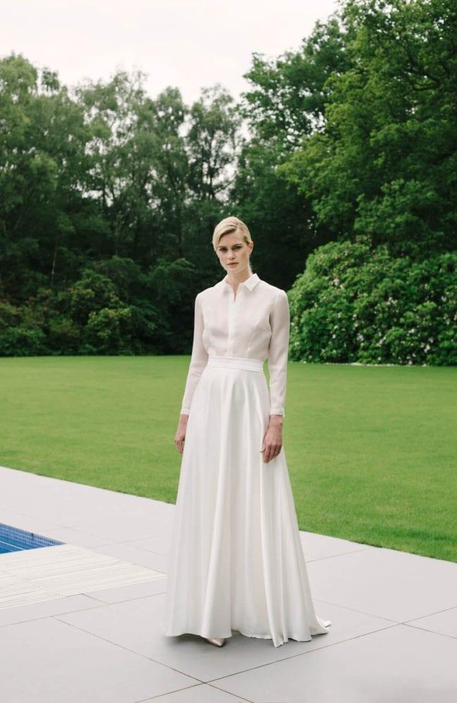 plain wedding skirt with simple bridal shirt top