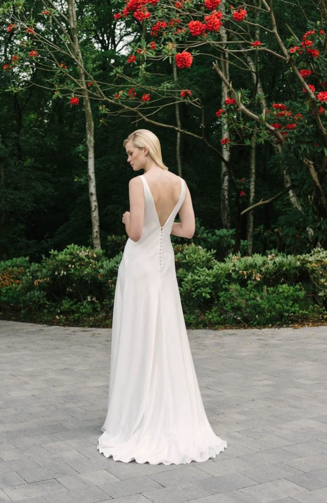 backless plain white silk wedding dress