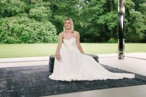 sweetheart neckline plain silk wedding dress
