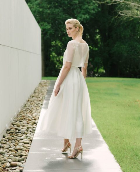 empire line wedding skirt v neck wedding top with lace bridal top