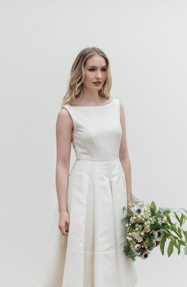 boat neck sleeveless pleated structured wedding dress