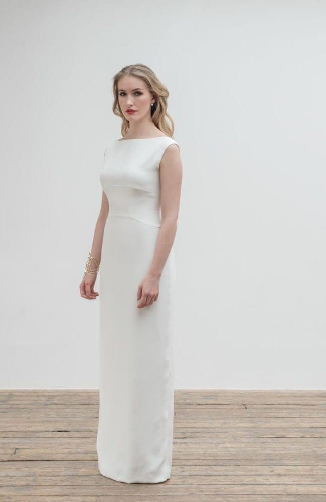 high neck sleeveless structured bodice wedding dress
