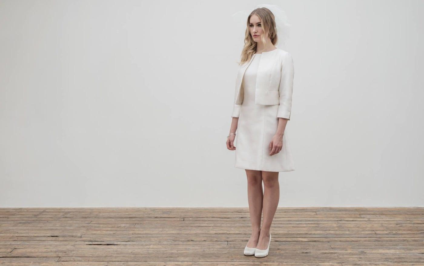 2 piece short structured wedding dress and bridal jacket