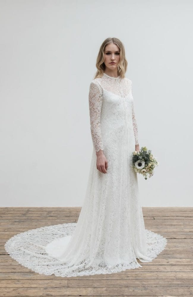 high neck long sleeve floral lace wedding dress with train