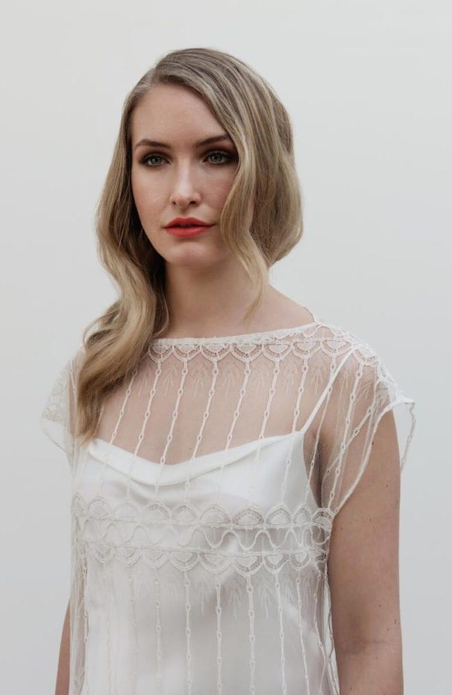 spaghetti strap silk wedding dress with vintage geometric lace wedding cape