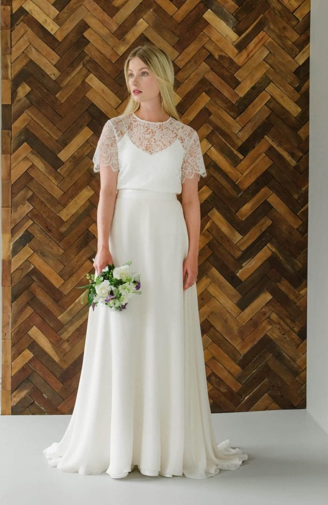 simple silk wedding dress with lace bridal top