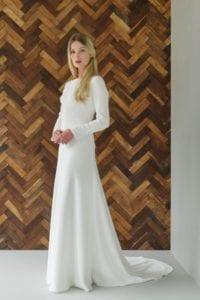 long sleeve boat neck romantic wedding dress
