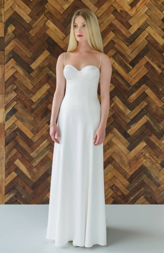 spaghetti strap sweetheart neckline wedding dress