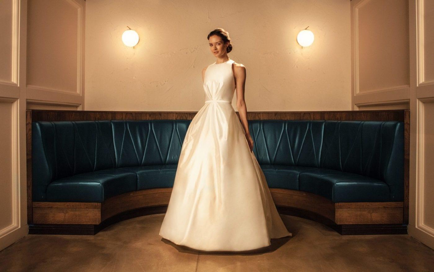 high neck sleeveless princess modern classic wedding dress