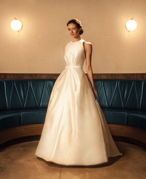 high neck sleeveless princess modern classic wedding dress