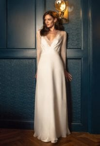 deep v neck empire line wedding dress