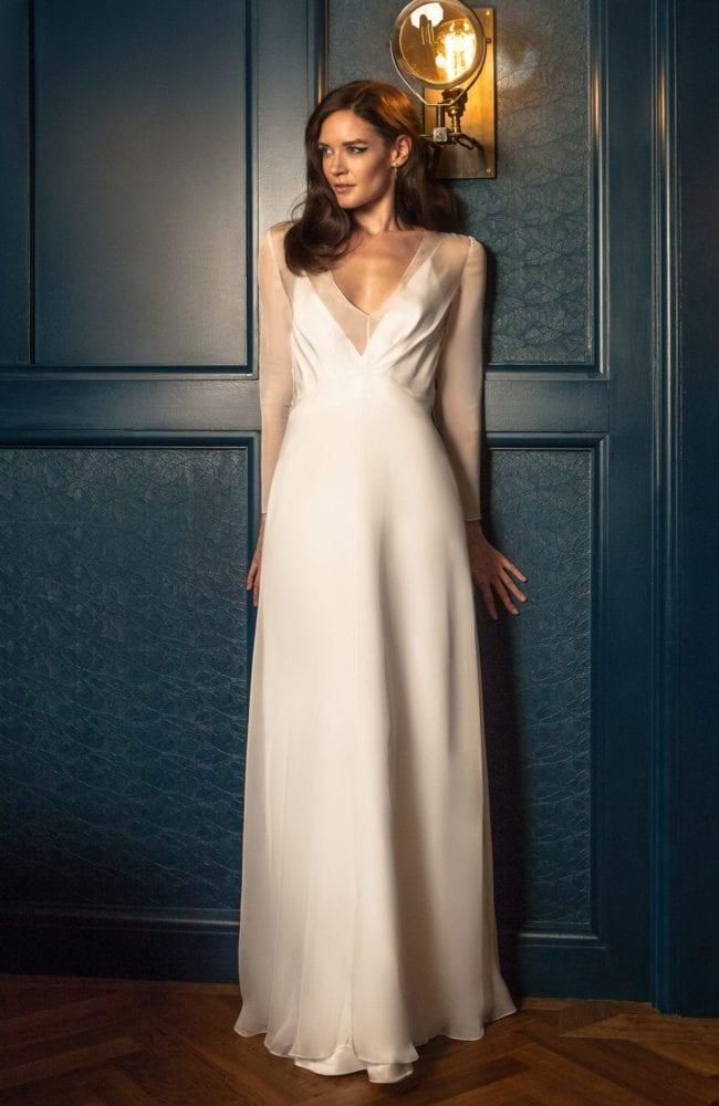 deep v neck empire line wedding dress