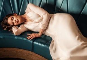 v neck modern silk wedding dress with opague overdress