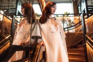 v neck modern silk wedding dress with opague overdress and bridal jacket