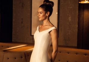 v neck off the shoulder structured modern classic wedding dress