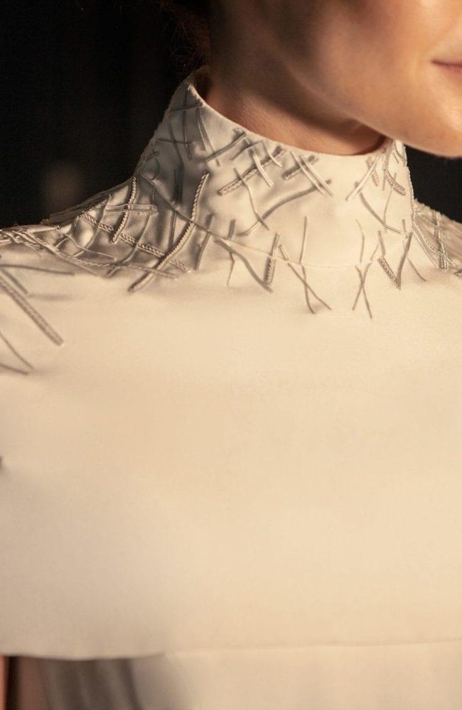 futuristic structured silk bridal cape