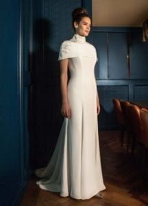 futuristic modern wedding dress with cape