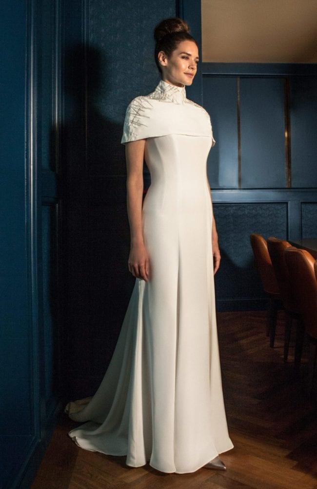 futuristic modern wedding dress with cape