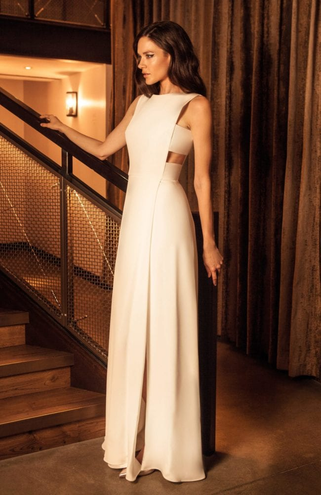 simple high neck sleeveless modern wedding dress