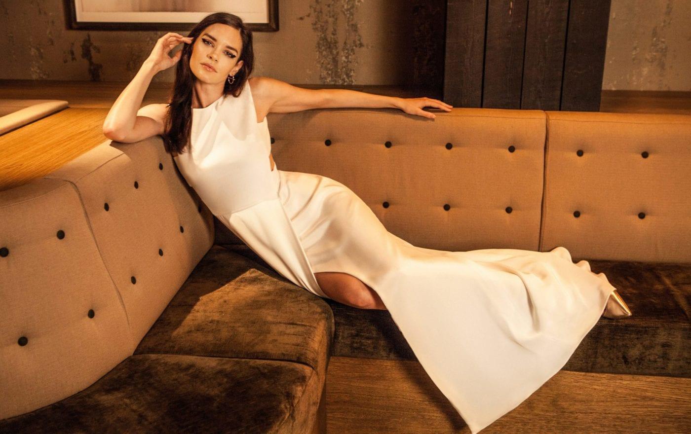 plain high neck sleeveless wedding dress