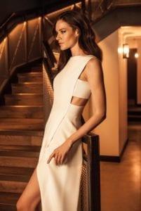 plain high neck sleeveless modern wedding dress with leg slit