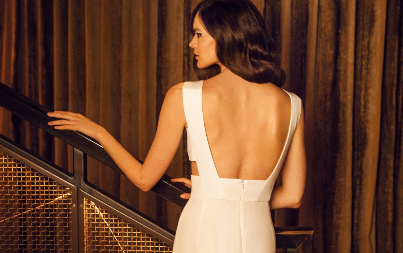 modern low back wedding dress
