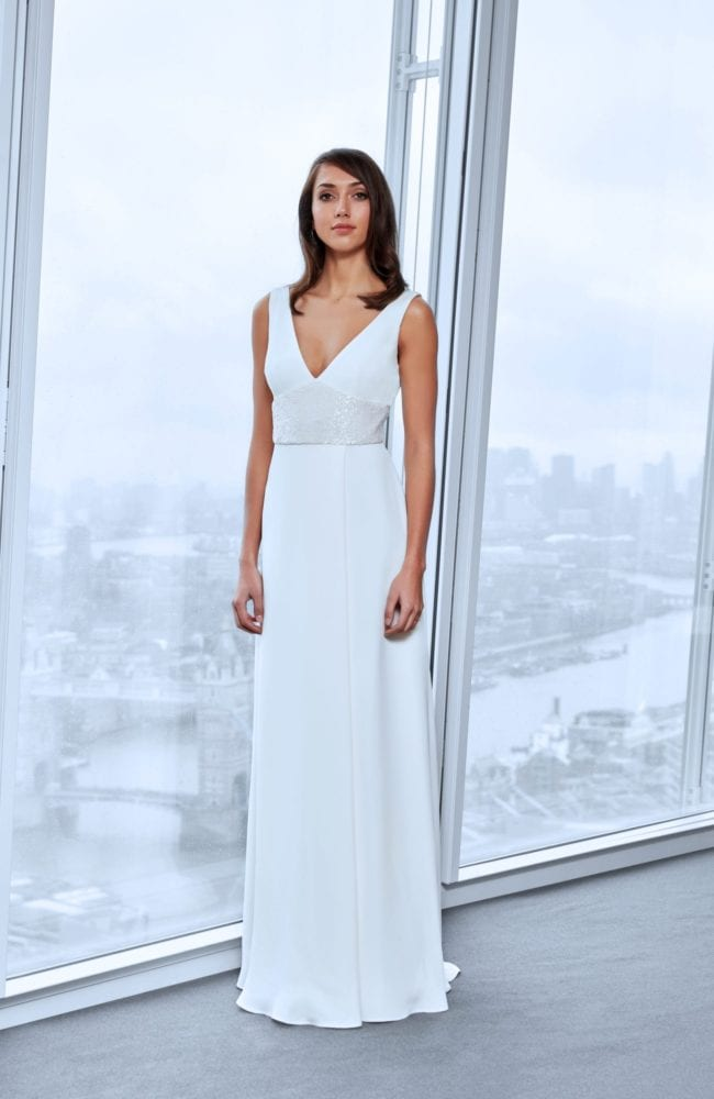 minimalistic v neck a line wedding dress