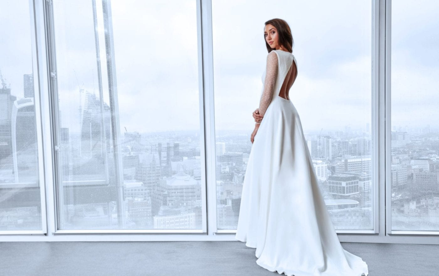 minimalistic lace wedding dress with sleeves
