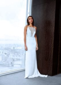 minimalistic modern v neck wedding dress
