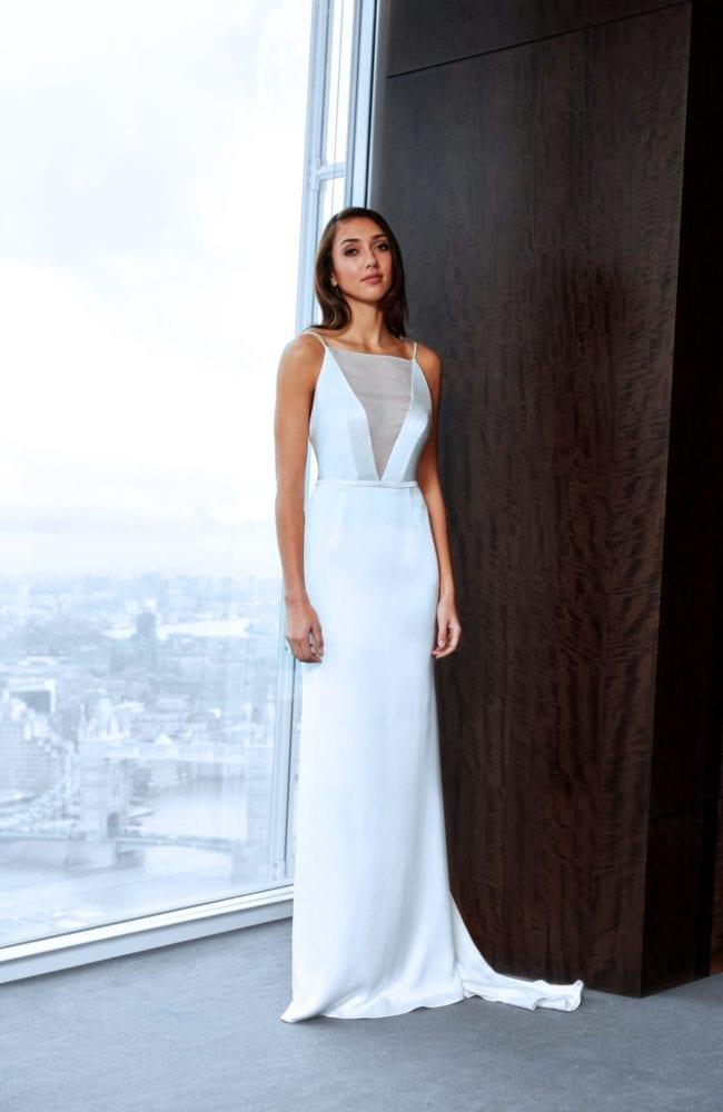 minimalistic modern v neck wedding dress