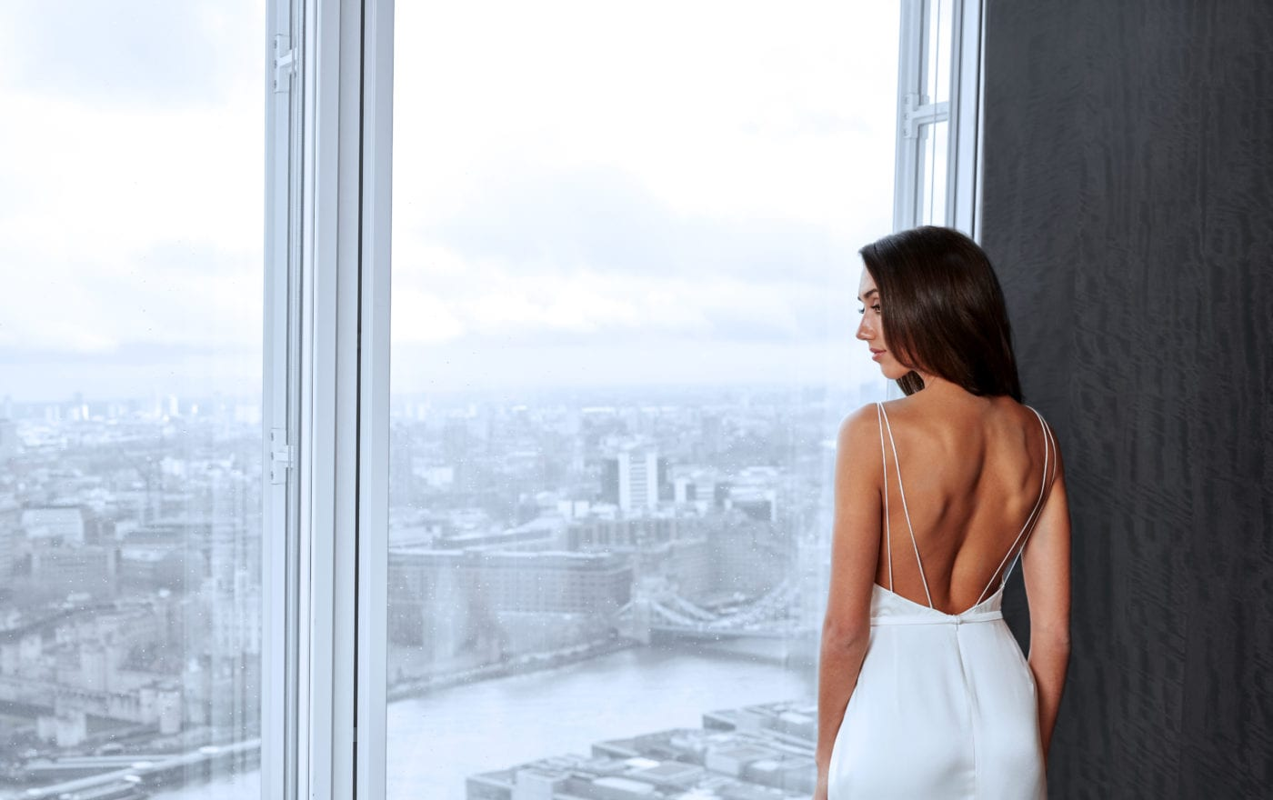 minimalistic backless silk wedding dress